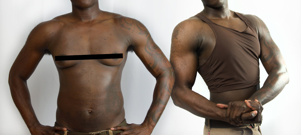 Color: Umber Size: XL Chest size of model: 32B/40 inches Shoulder measurement: 20 inches Pronouns: He/Him
