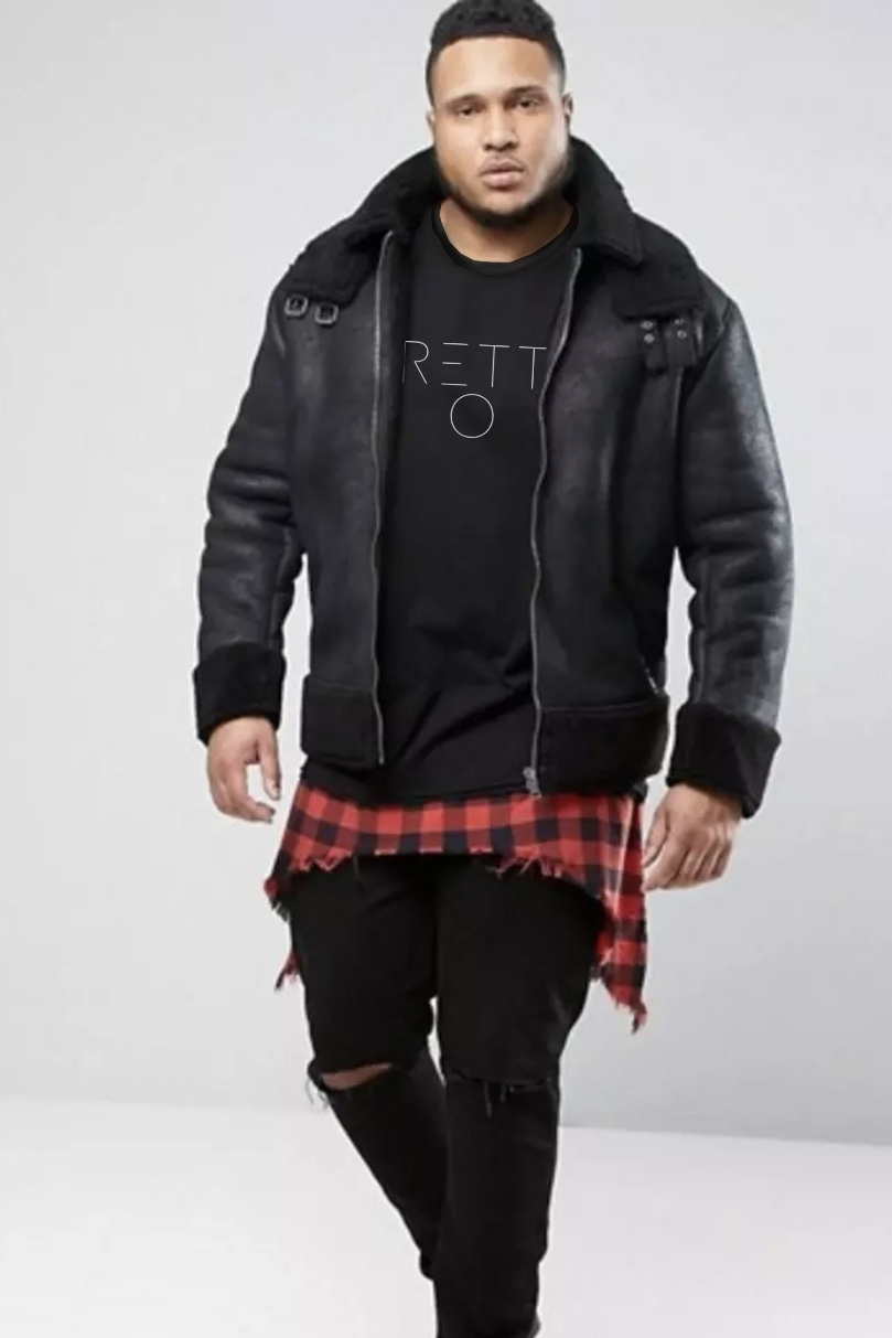 LOOK 1:  Pretty Boy T-Shirt   Distressed Plaid Shirt   Black Leather Jacket (Plus Sized)   Black Jeans (Plus Sized)