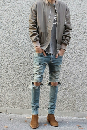 LOOK 4:  Handsome as Heck T-Shirt   Nylon Bomber Jacket   Distressed Jeans   Suede Chelsea Boot   Alternate Boot Option