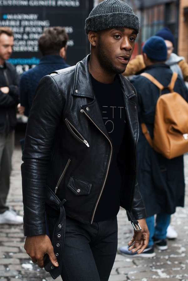 LOOK 9:  Pretty Boy T-Shirt   Black Leather Biker Jacket   Black Jeans   Black Beanie   Black Chelsea Boots