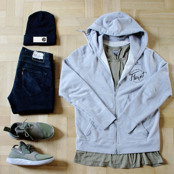 LOOK 7:  Basic Tee   Steer Queer Zip-Up Hoodie   FLAVNT Logo Beanie   Jeans   Green Sneakers
