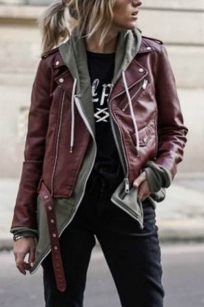 "LOOK 3:  Gal Pals Scissor Shirt   Steer Queer Zip Up Hoodie   Black ""Mom"" Jeans   Maroon Jacket   Platform Ankle Boots"