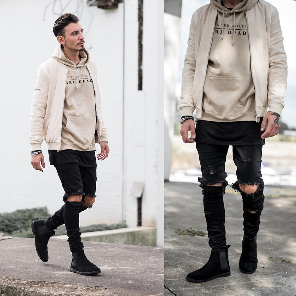 LOOK 14:  Gender Roles Are Dead Hoodie   Khaki Bomber   Ripped Black Jeans   Black Chelsea Boots