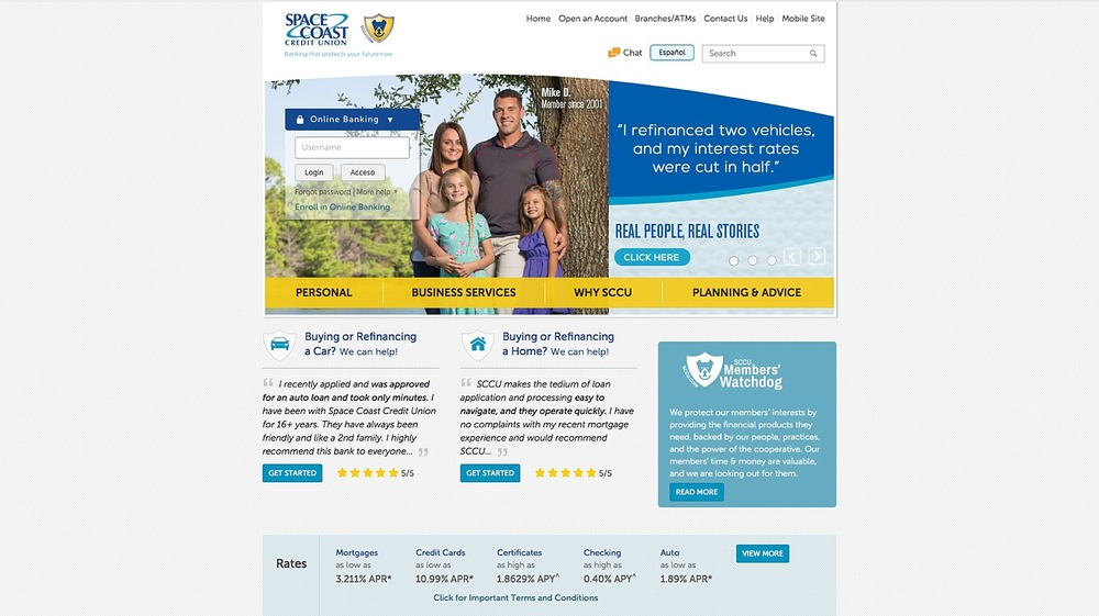 The portrait advertising campaign included photo usage on the Space Coast Credit Union's website.