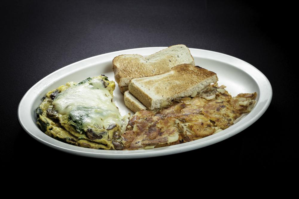 Spinach, Mushroom & Swiss Omelet