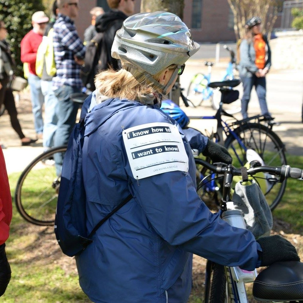 "Like Riding a Bicycle   Project Leaders: Katie Hargrave and Brett Hunter Neighborhood: Innovation District  Like Riding a Bicycle is a playful bike tour and skill share in the innovation district, celebrating the untapped skills present in this changing part of Chattanooga. Based on the axiom, ""it's like riding a bicycle,"" this project creates a platform for conversations to happen among neighbors and connections to stick for the long run. Through a self-guided and artist-led bike tour, participants will ""race"" to learn things from their neighbors--from business know-how to unique do-it-yourself skills."