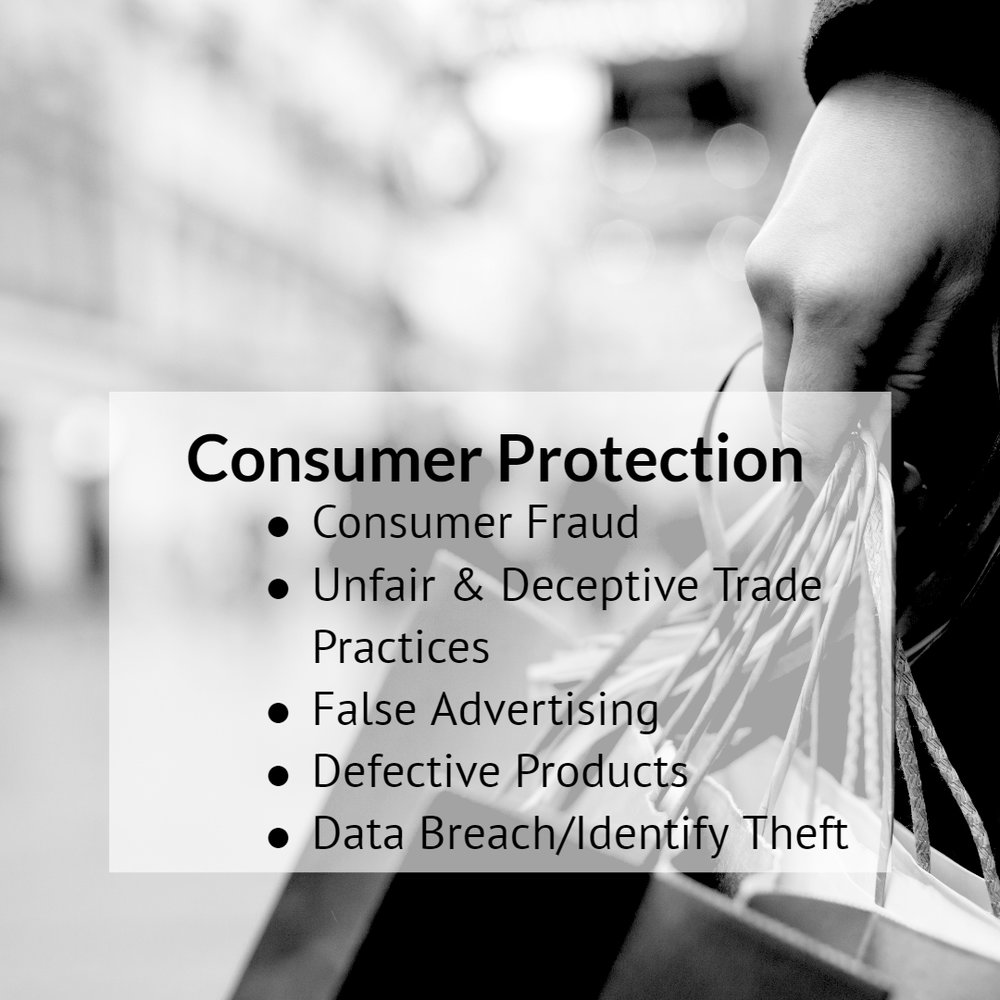 Our firm handles a variety of consumer protection matters including, but not limited to, individual and class action matters involving consumer fraud, unfair and deceptive trade practices, false advertising, defective products, data breach/identity theft, and more. Read more.