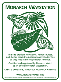 official monarch waystation sign , monarchwatch.org
