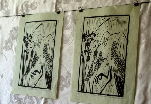 Heron woodcut prints by Melissa