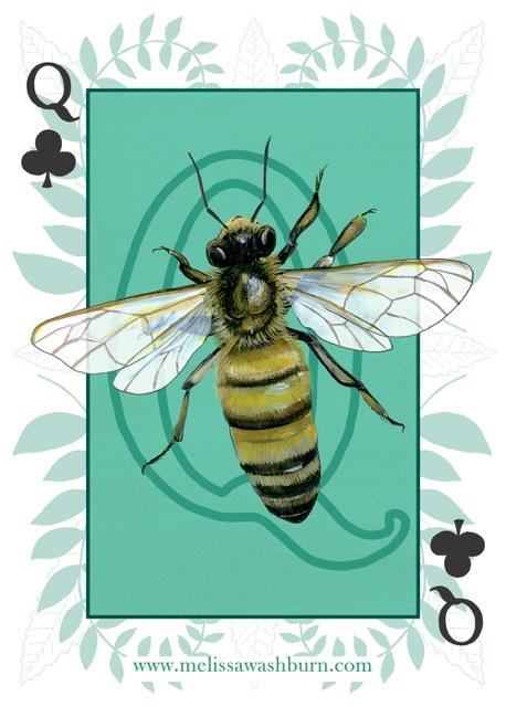 Queen of Clubs from Melissa's animal playing cards project