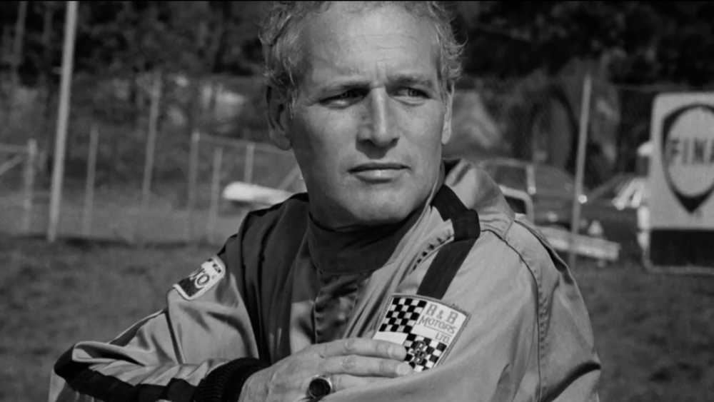 Paul Newman wearing an original Racemark B&B Motors racing suit