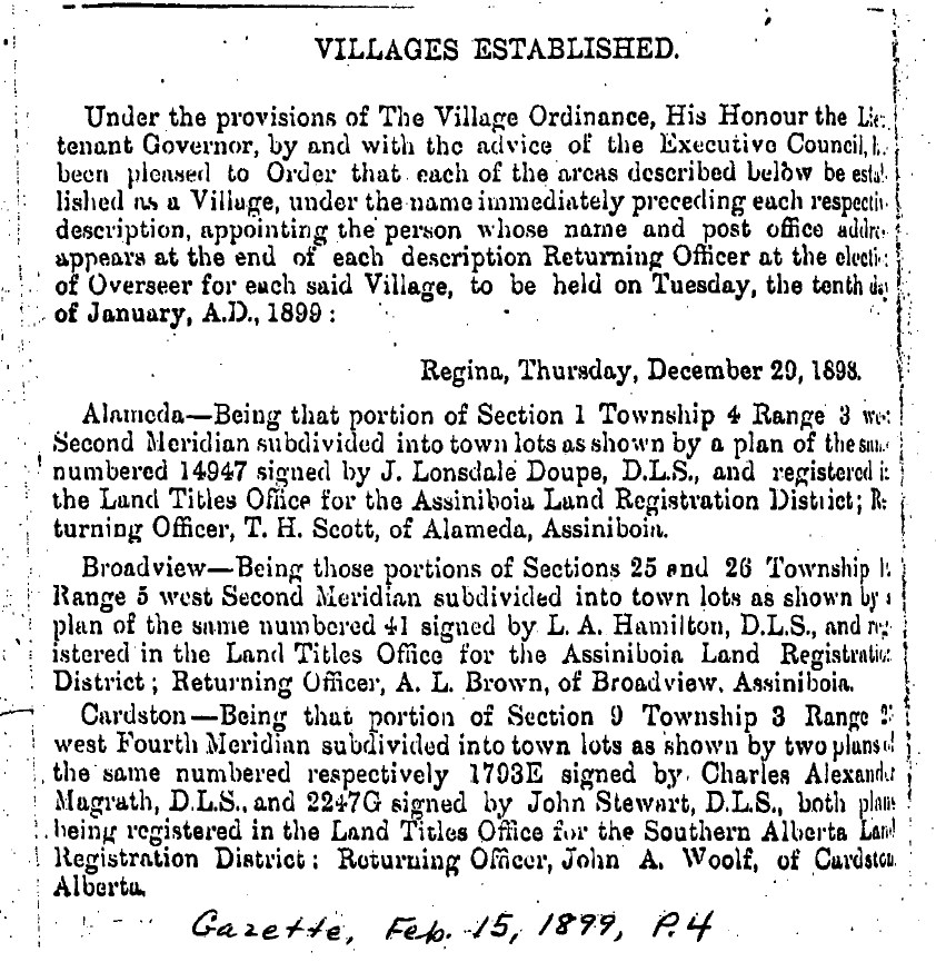 This order was found in the North-West Territories Gazette, February 15, 1899 on page 4.