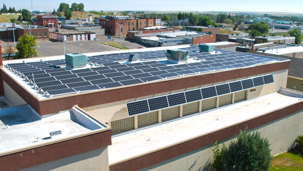 141 350 watt Solar Panels producing 52 mega watt hours of electricity every year.