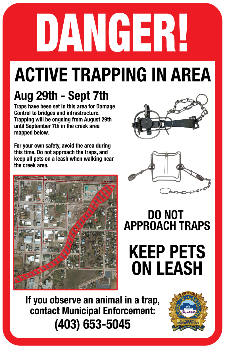 Several signs have been posted near the banks of Lee Creek to mark the trapping areas.