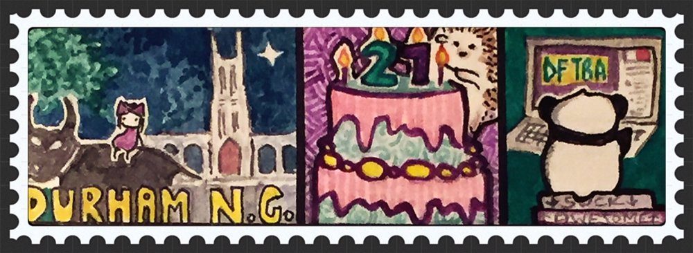 PANEL 1:      Me on the Durham Bull, Duke Chapel miniaturized      PANEL 2:      Celebrating my birthday! Henri may have left this world, but she still makes a lot of guest appearances in this other world of mine    PANEL 3:      A Nerdfighter Panda. More about this later!