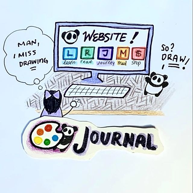 "🐼🎨 Journal/vlog #1: Back to doodling! (Swipe ⬅️ for video!) * 大家好(Dàjiā hǎo!), Hi everyone! This is a new segment I'm trying out (for you, and for me!). A bit of background: In the last two months, I've been working a lot on my computer: finishing the Kickstarter ebook/audiobook, redesigning the panda website, and tackling the logistical learning hurdles that come with trying to make @pandacubstories a small business (it's exhilirating and terrifying! 😍🤩😱). In all that time, however, I've been feeling a little blue: I haven't really touched my pens and paints at all during that time, and I haven't been making visual art. While I identify as a multi-tasker who works (and is trying to learn) how to work in many disciplines, visual art has always been my *center*. When I stray too far away from it, I start getting anxious and grumpy.  So! This ""🐼🎨journal/vlog""is a small attempt for me to inject some color into my life (even as I'm focusing on less visual projects). I'm planning on doing this 2 or 3x a week. See you next time!"