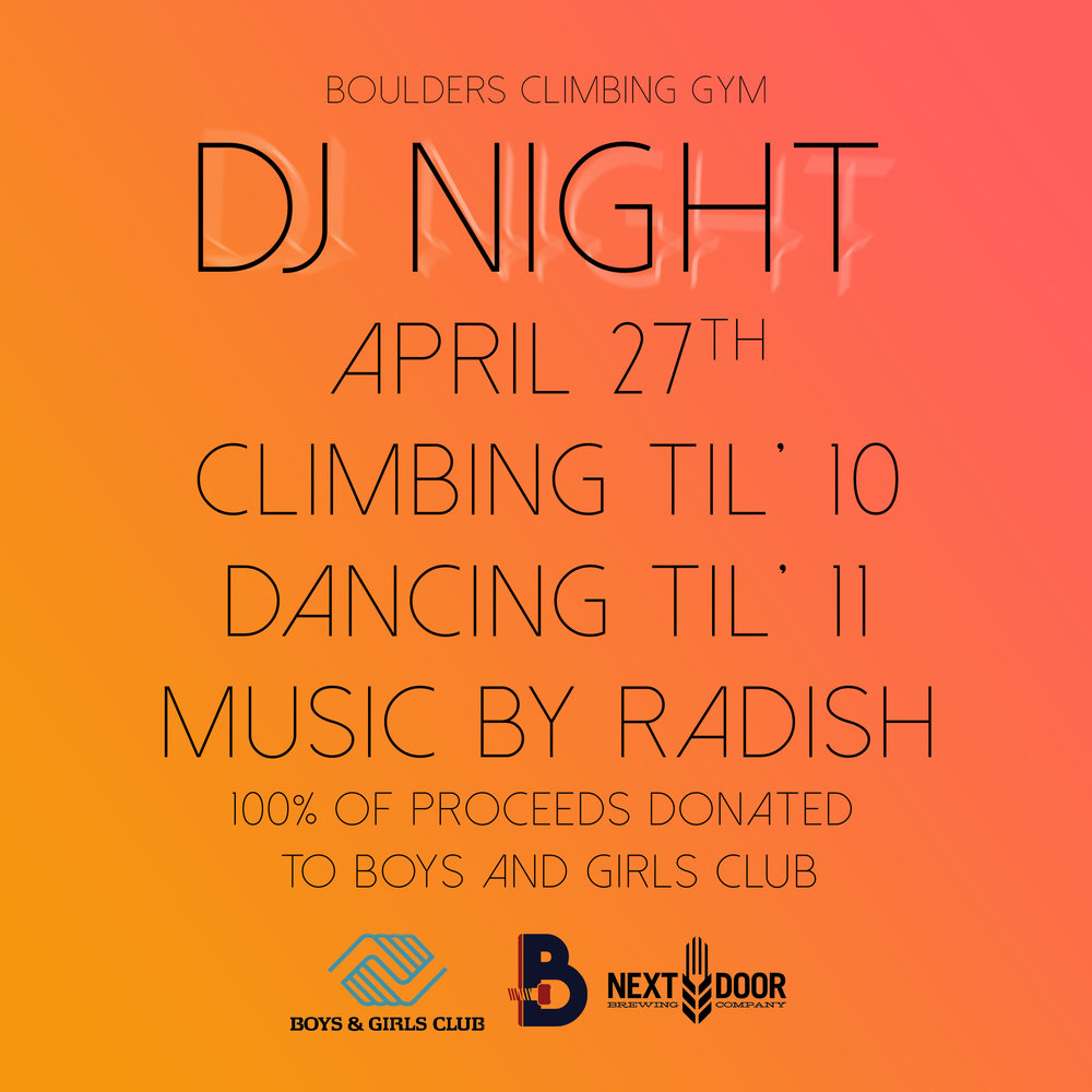 DJ Night - Dance, climb, donate!
