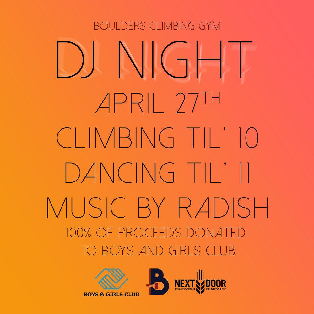 DJ Night - Dance, climb, donate!