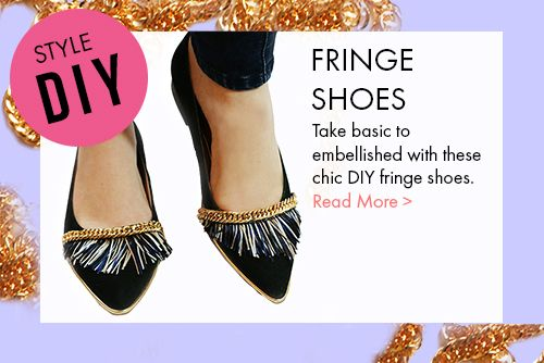 DIY style fringe shoes