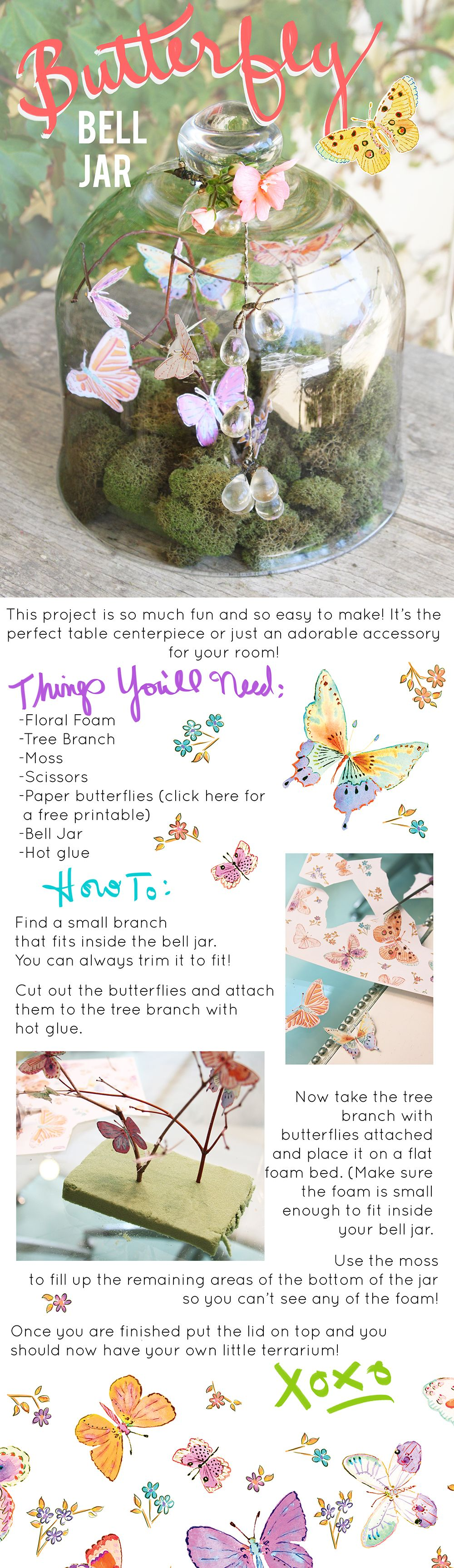 DIY Decor Butterfly Bell Jar Centerpiece