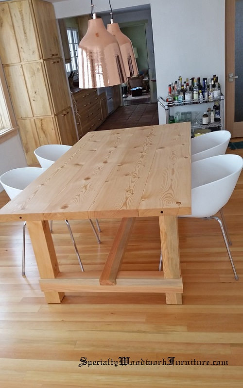 Contemporary Douglas Fir Farmhouse Extension Table With Library Style  Trestle Base   Commissioned Piece
