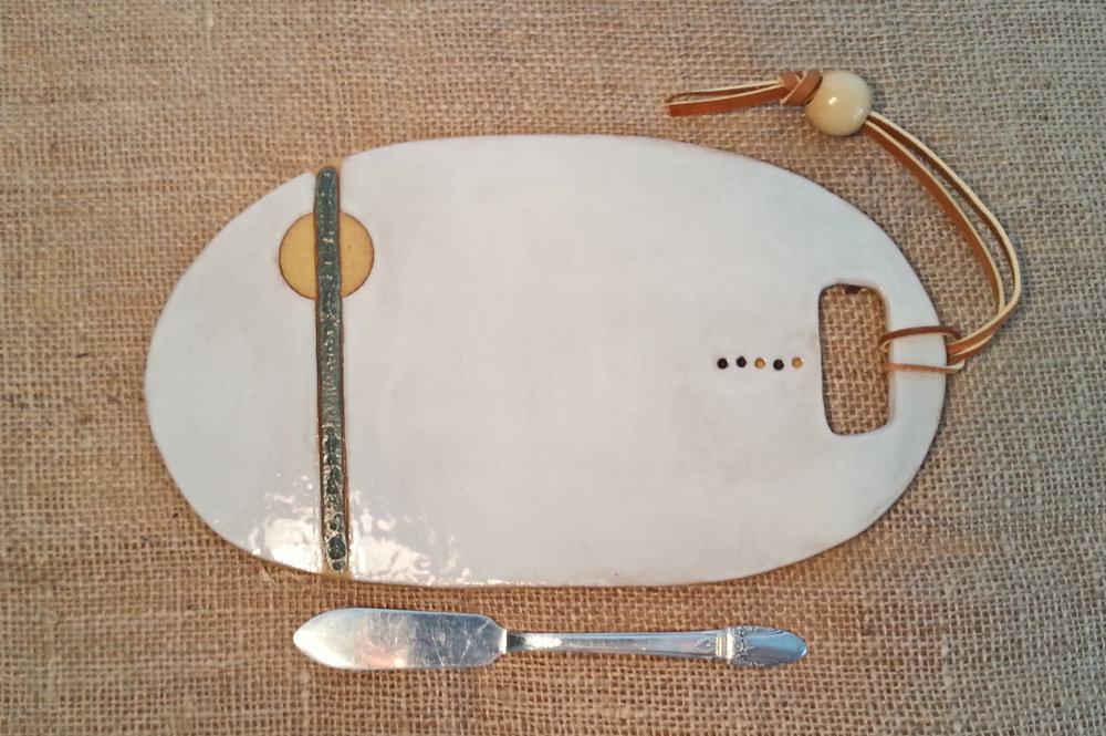 Platter- Ceramic, hand-built, white with green stripe