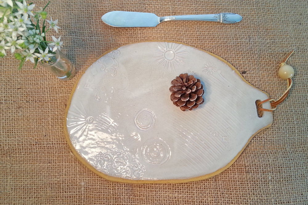 Platter- Ceramic, hand-built, white