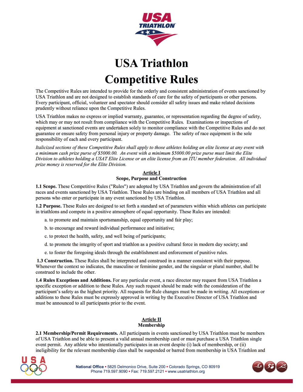 USAT Competitive Rules