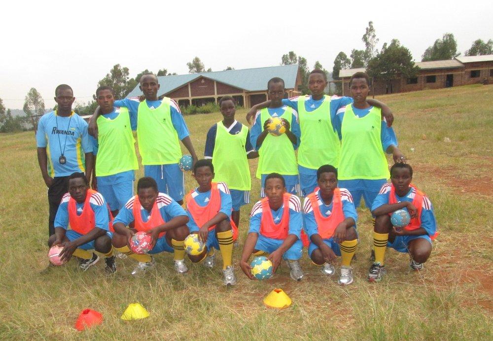 Duha handball team with coach, aphrodice sindayigaya