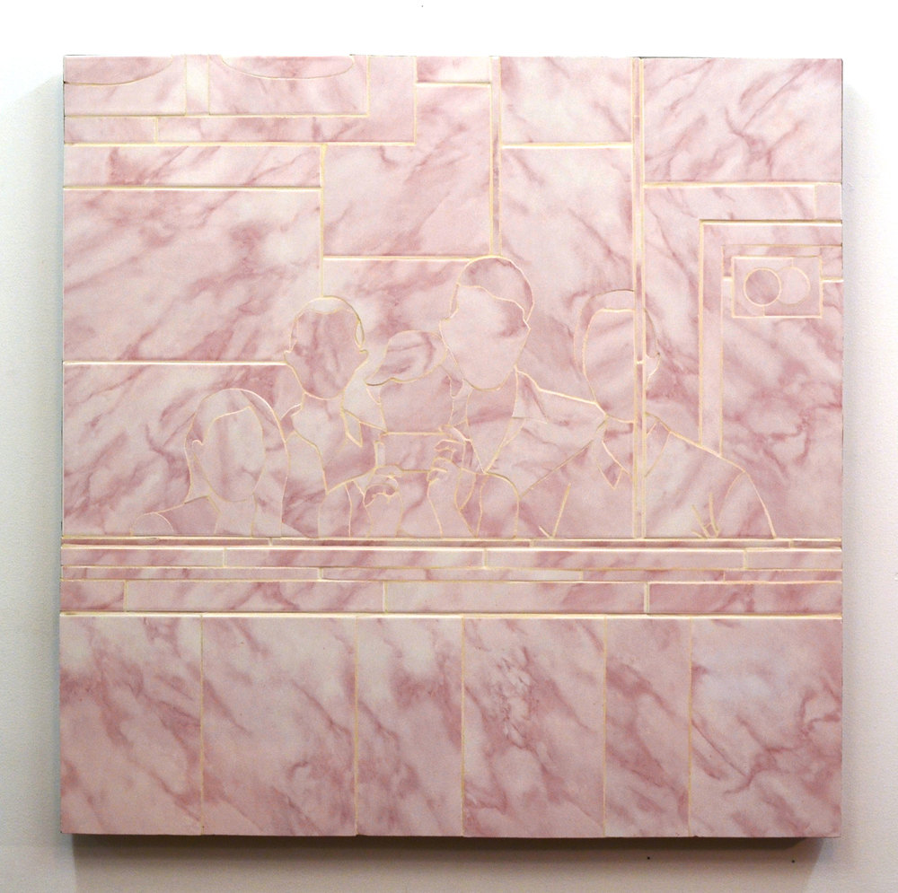 Joseph Bochynski, Chinese Food (Civic Lessons), 2015, Ceramic tile on panel, 36 x 36 inch.