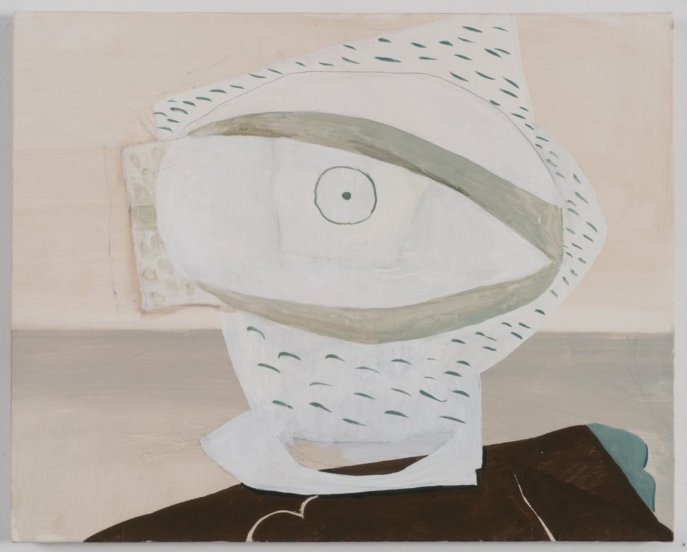 "Still Life with Picasso Eye (working title), 2016 Oil on Canvas 16"" x 20"""