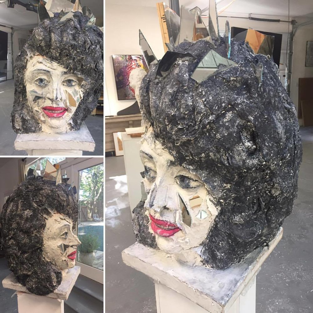 "QUEEN OF CRYSTAL / plaster / mirror / paint / 29""H X 12"" L X 16"" W, 2017"