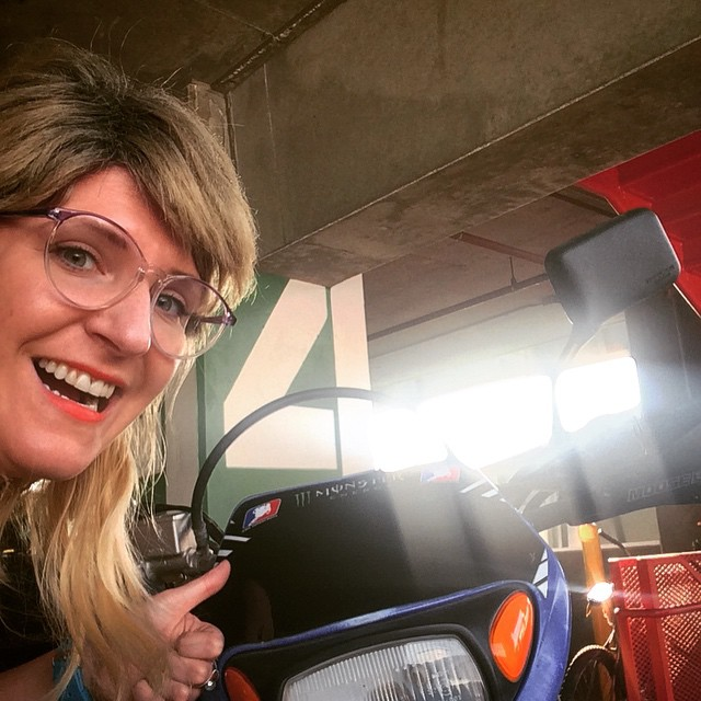 "Here's me, Aslaug giving ""props"" or as they say in America ""selfies"" after an aftermath I witnessed  myself watching multiple individuals drive this ""sweet ride"" or as we call in in Europe,  a ""motor bike"". #sundayfunday #yamaha #supercool #numberfour"
