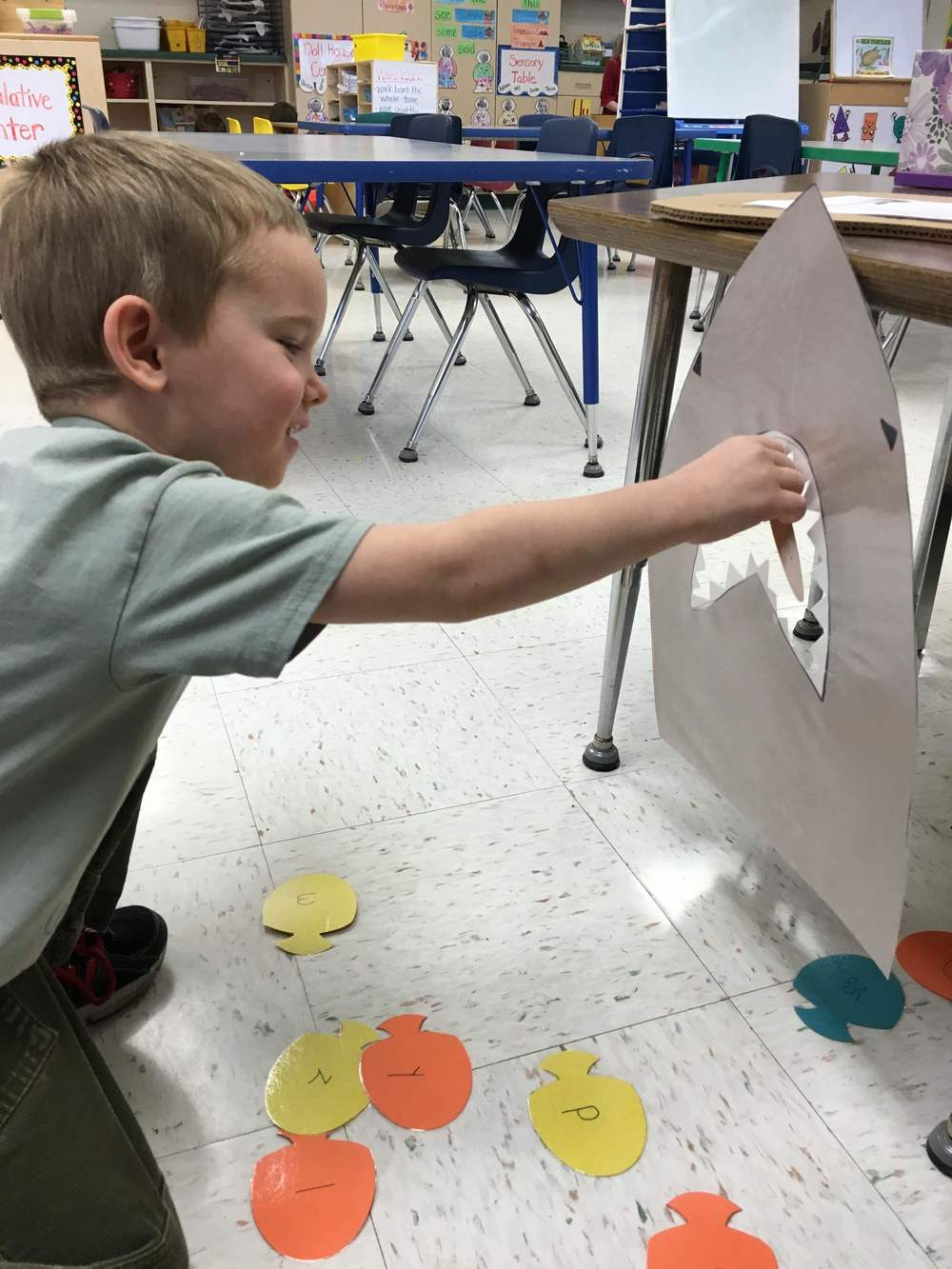 reviewing lowercase letters, feeding fish to the shark!