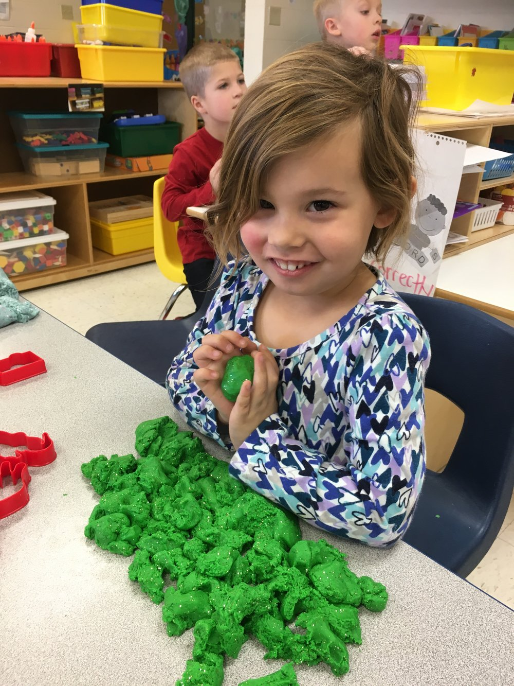 Thank you Mrs. Custer for making homemade play dough for our classroom!
