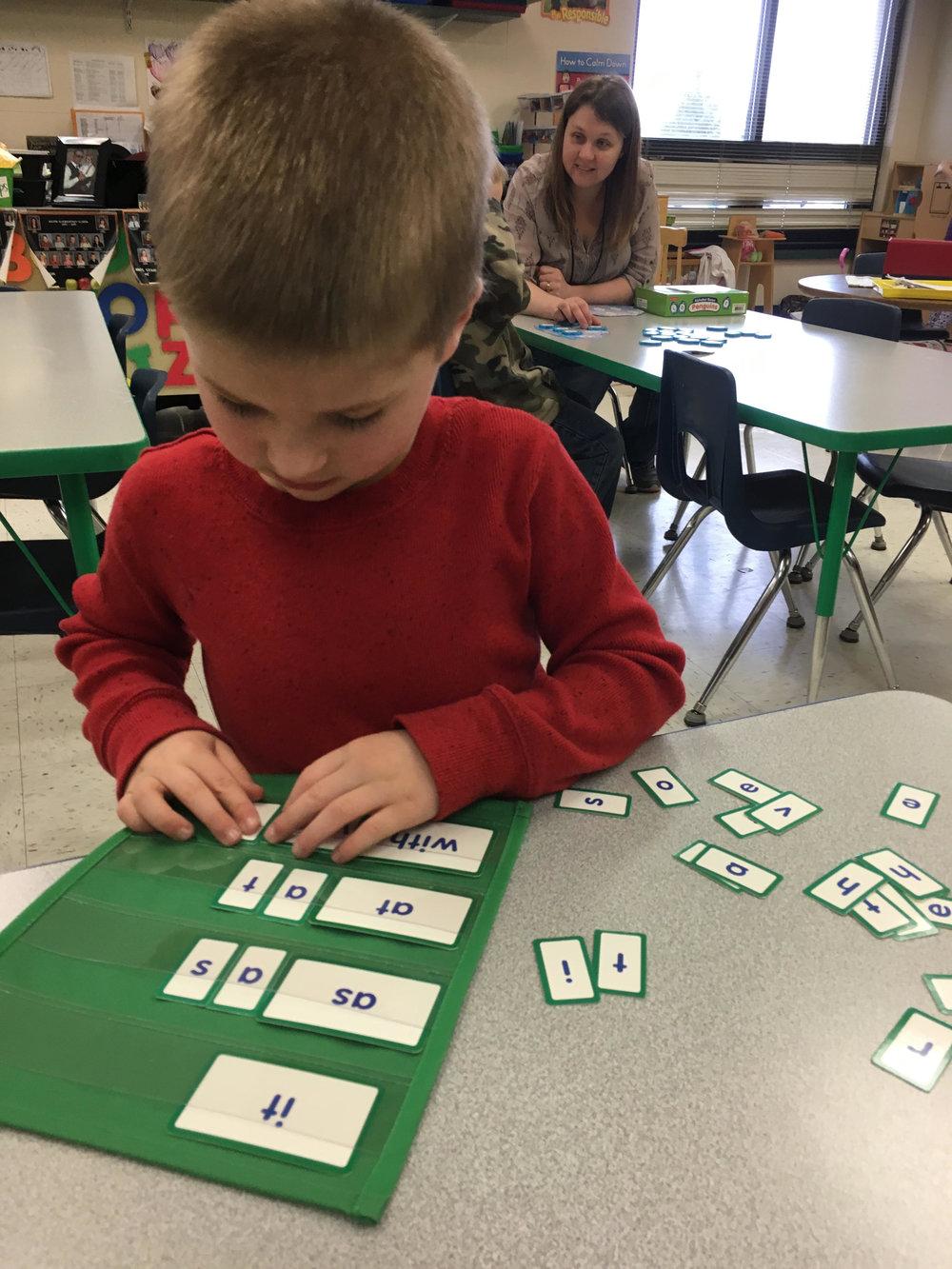 Working on beginning sight word skills!