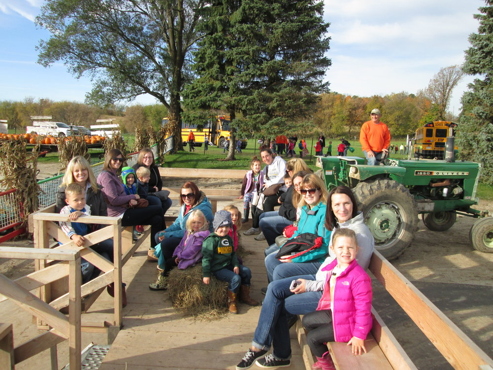 going on a hayride to find a pumpkin