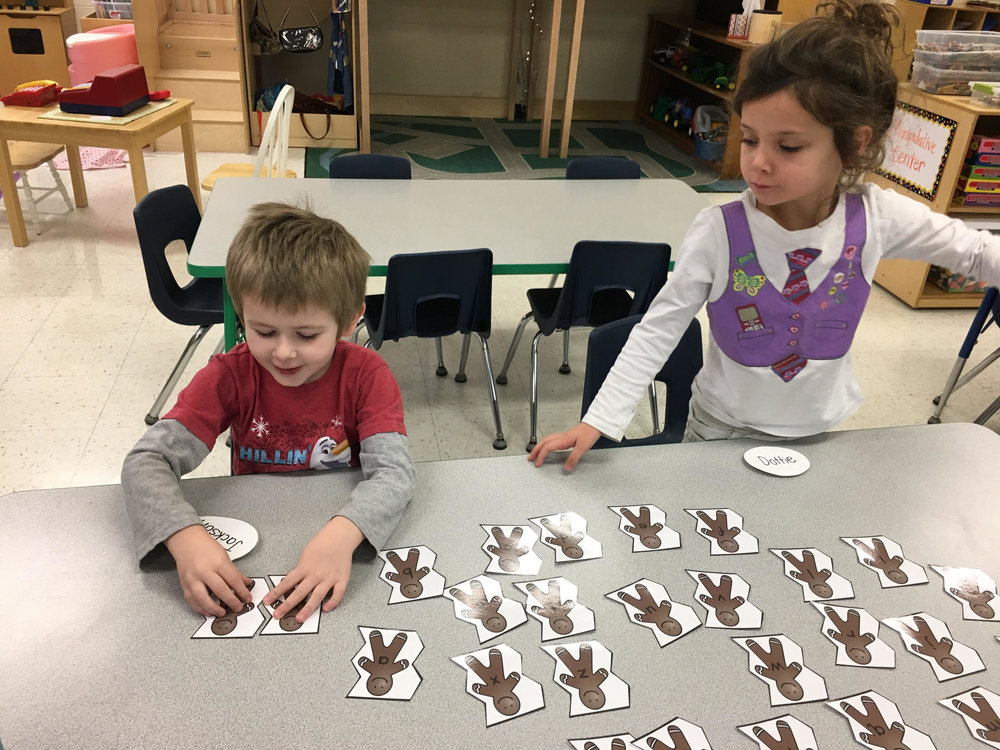 matching uppercase letters to lowercase letters.