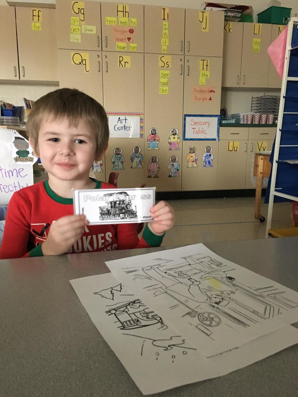 He has his Polar Express Ticket