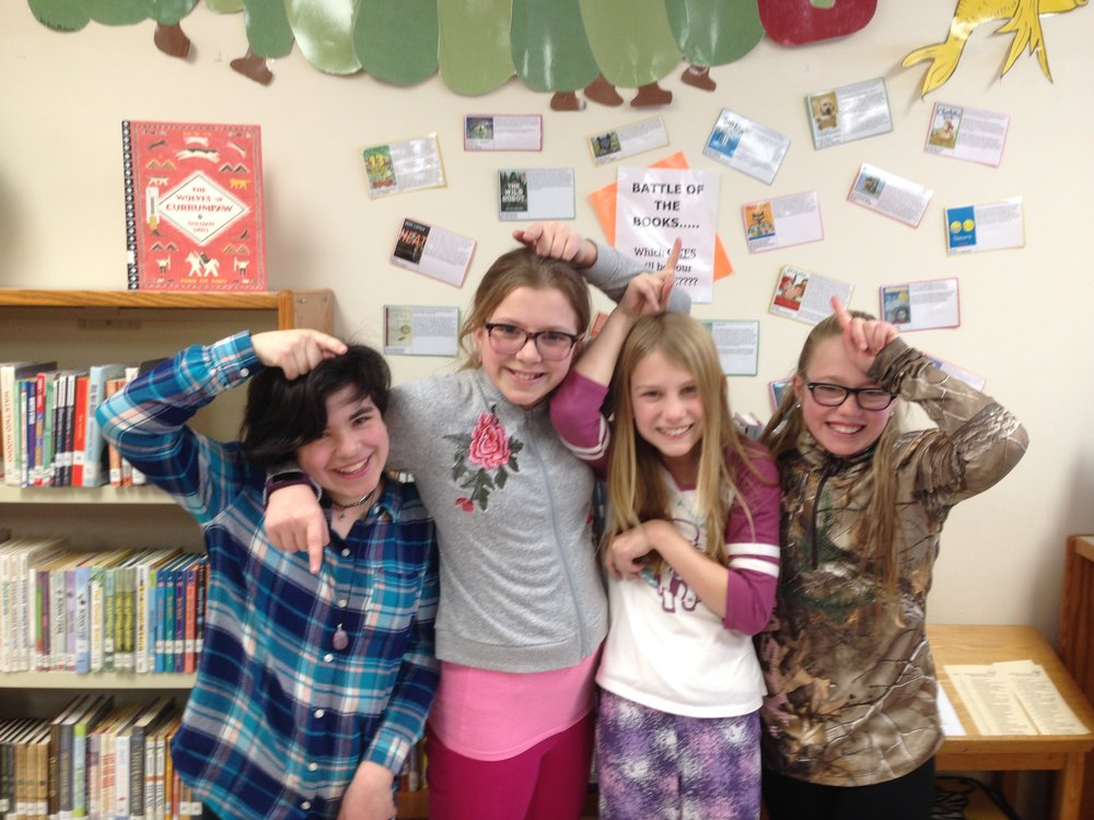Battle of the Books Team - The Sparkling Unicorns, comprised of 5th graders Skylar, Ava,  Stella, and Isabel won the Battle of the Books competition last week!  They also competed in the state battle as the representatives from i4L
