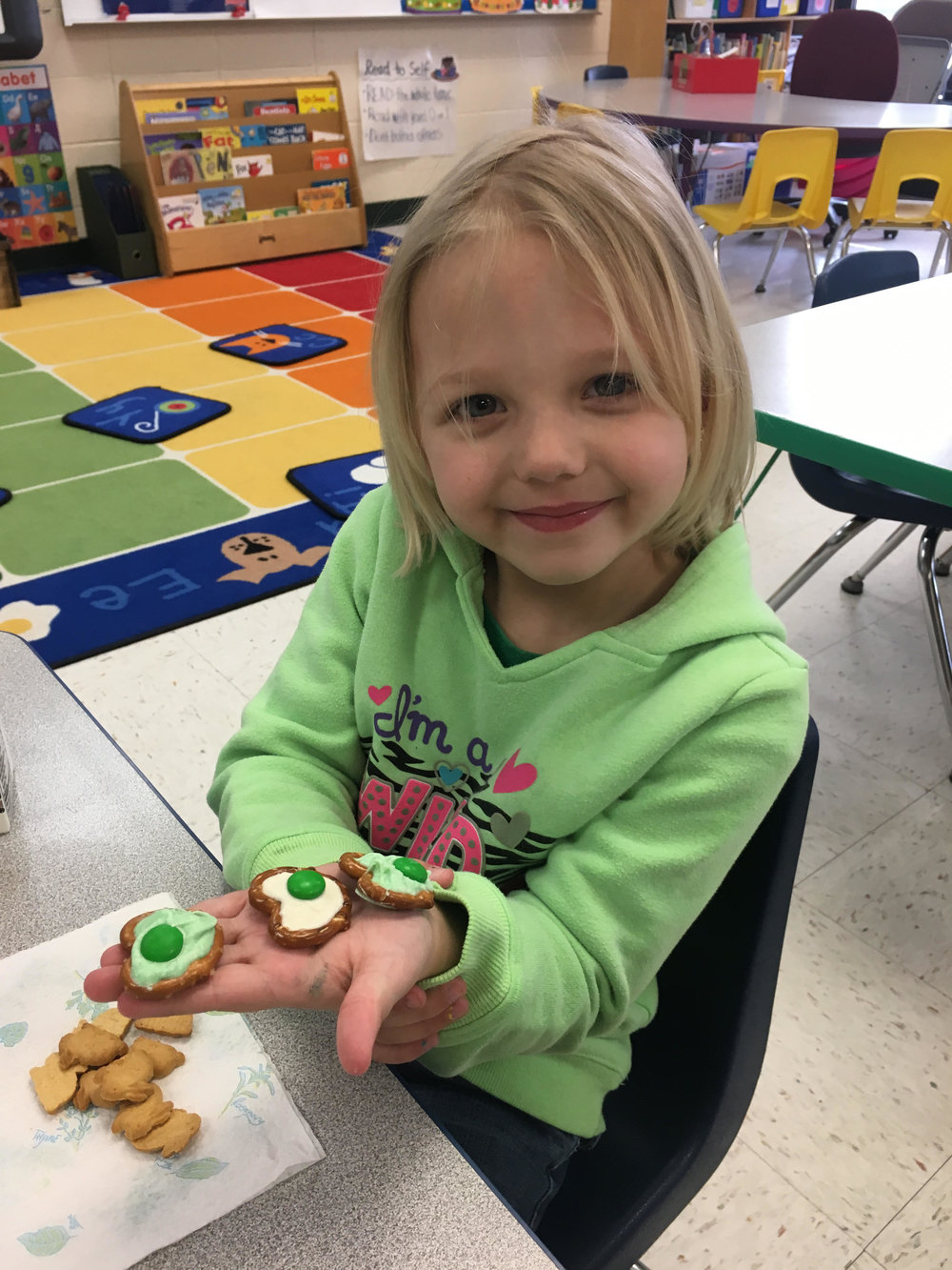 Mrs. Stahl made green eggs and ham for snack!