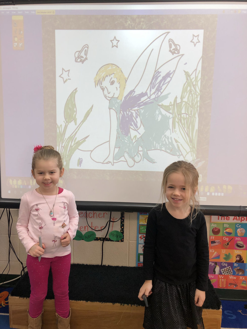 coloring on the promethean board during play time