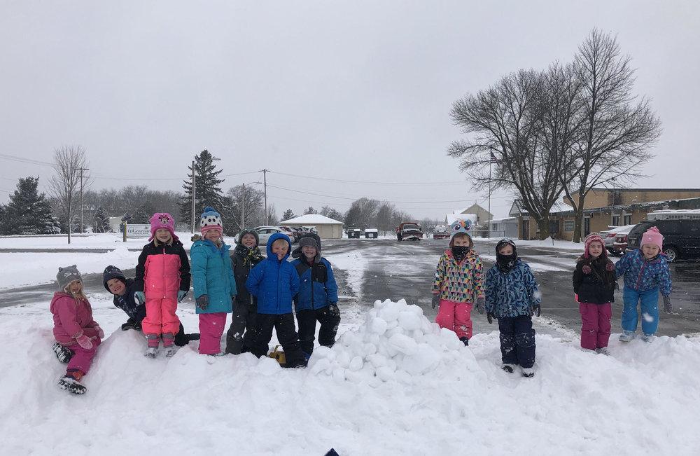 enjoying the fresh snow from last week