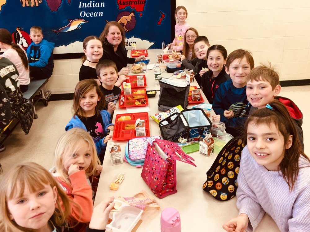 """K-5th students enjoyed a PBIS """"Mixer"""" Lunch today where they were able to mix up their normal lunch seats and sit with other students & staff that shared the same first letter of their name!"""