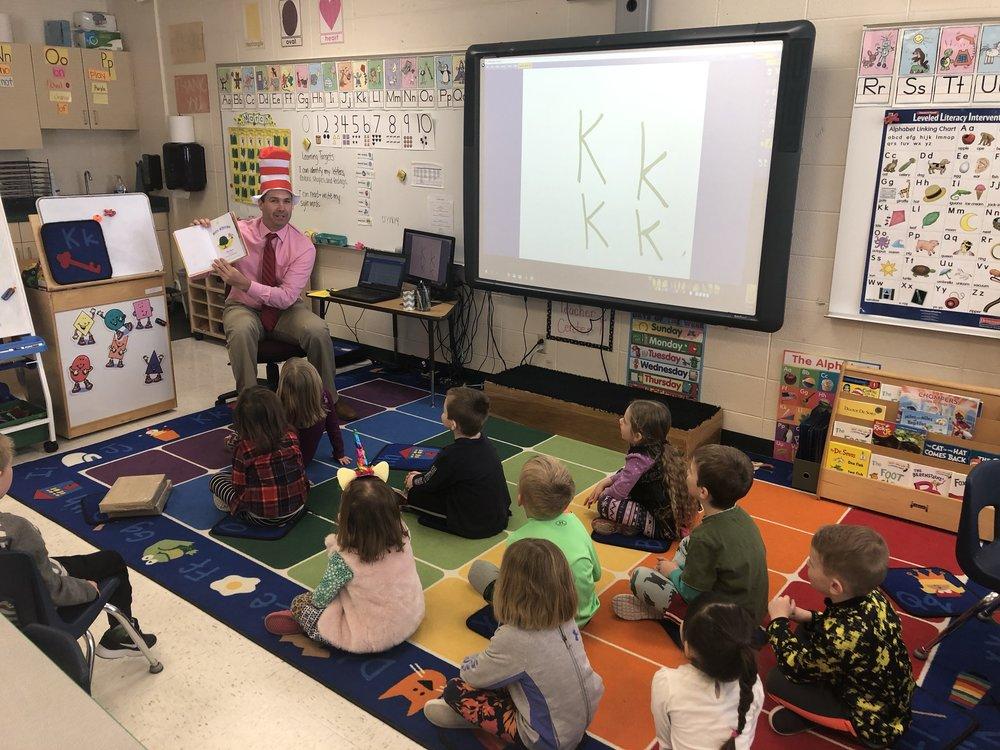 Mr. Flood reading Wacky Wednesday