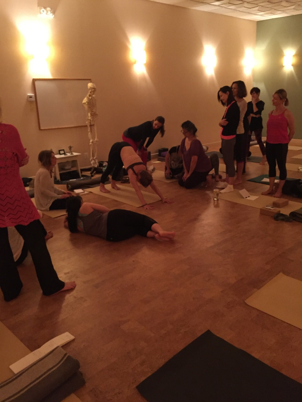 Visiting Master Teacher faculty demonstrates movement of the spine in downward facing dog pose.