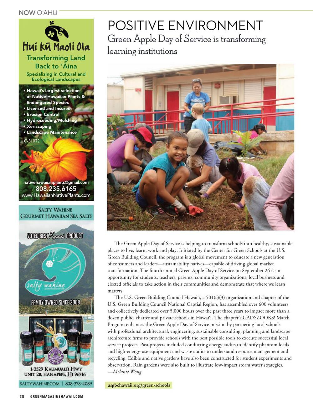 Green Magazine Article, Positive Environment, Green Apple Day of Service is transforming learning institutions