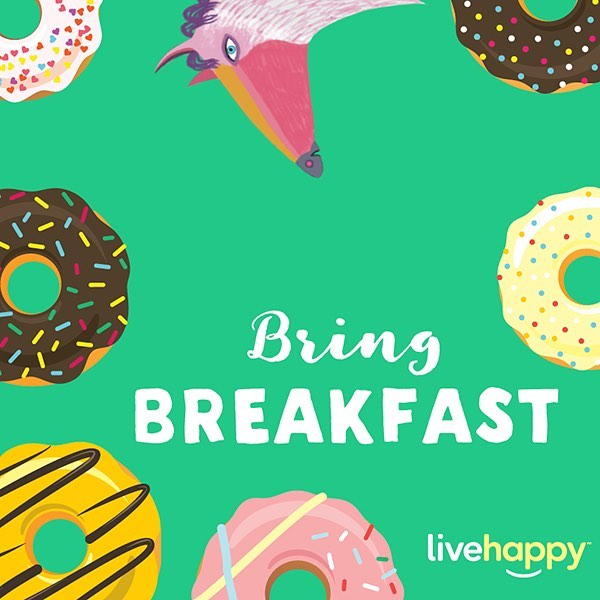 """Eat some breakfast, and then change the world. In our mind, """"bae"""" stands for """"bacon and eggs."""" Put a smile on your co-workers' faces by bringing breakfast to the office! 🍳🥓🥞🍩☕️🍴 #happyacts"""