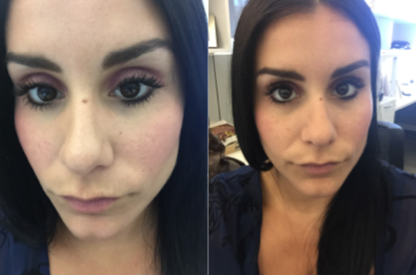 Before (Left) A bit greasy on the nose, a little dark under eye and After (Right) a little more color, smooth and no grease!