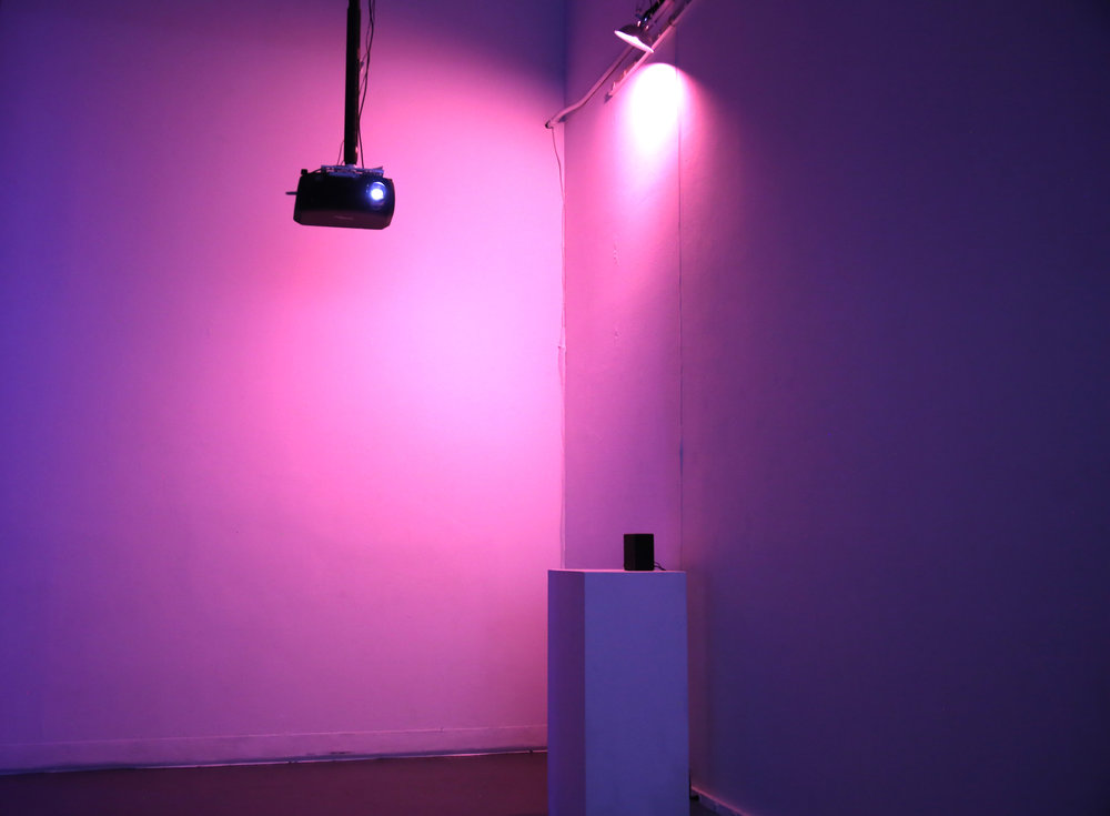 Installation View, Qualai, 2017  Video Projector, Sound Speaker, and Perfume Dispenser